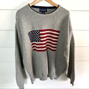 ROUNDTREE & YORKE American Flag Knit Sweater